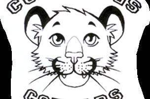 Cummings Cougars sketch in black & white